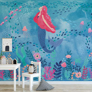 Mermaid Magic Mural-Mermaid in coral reef. hung in playroom