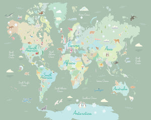 Where In The World Mural-Pastel continents and engaging symbols representing something special about each place.