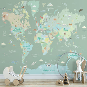 Where In The World Mural in Room (SKU WPM2856) Learning geography has never been more fun with this peel and stick mural. Pastel continents and engaging symbols representing something special about each place make this world map engaging and enjoyable!