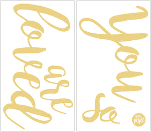 You Are So Loved Wall Quote-the quote, you are so love is done in gold metallic script.  Shown how you will receive it on the sheet.