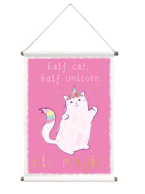 Half Cat Tapestry-Quote- Half cat, half unicorn, all magic, is written in white and gold with a floral crown and rainbow tail and horn.