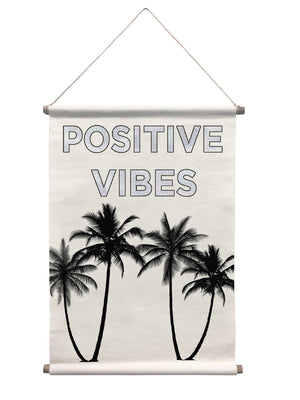 Positive Vibes Tapestry-With holographic text and silhouettes of palm trees,
