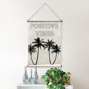 Positive Vibes Tapestry-With holographic text and silhouettes of palm trees,  hung over chest