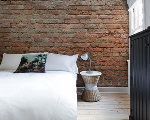 Classic Brick Wall Mural-exposed brick wall. hung in bedroom