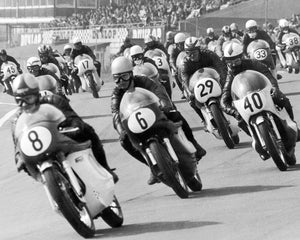 Vintage Bikes Wall Mural-black and white photograph of bike race at Brands Hatch