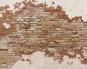 Distressed Brick Wall Mural-Orange bricks show through weathered plaster.