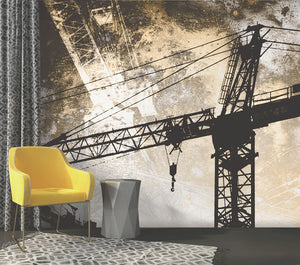 Under Construction Wall Mural-A distressed texture is overlaid onto a construction crane silhouette. hung in den