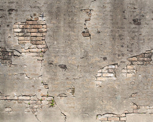 Broken Concrete Wall Mural-Bricks peek through beneath crumbling concrete