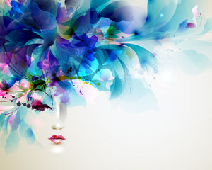 Beautiful Art Wall Mural-flowers that fade into a face on white background.