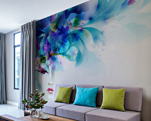 Beautiful Art Wall Mural-flowers that fade into a face on white background. hung in living room