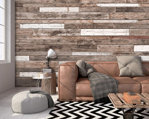 Wooden Planks Wall Mural in Living Room (SKU WR50552) This mural gives the look of a wood-paneled wall. The mismatched planks are artfully aged to give realistic detail.