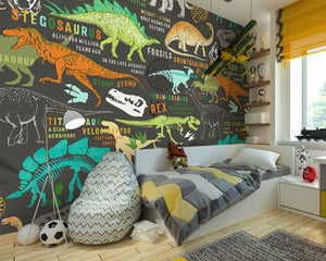 Dinosaurs Wall Mural-playful colors and enchanting dinosaur definitions. hung in bedroom