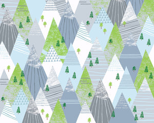 Mountains Wall Mural-This Geometric Winter Mountain mural's shades of airy greys, blues, and greens creates a calming feel.