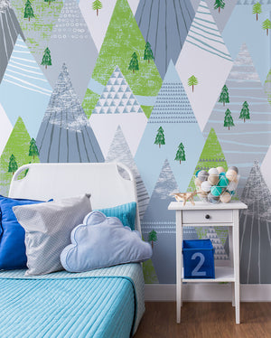 Mountains Wall Mural-This Geometric Winter Mountain mural's shades of airy greys, blues, and greens creates a calming feel.  hung in bedroom