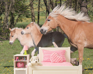 Ponies Wall Mural-mare and twins galloping through pasture with their manes flowing behind them.  hung in bedroom