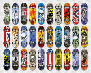 Skateboard Wall Mural-3 rows of 10 skateboards in various colors and graphics.