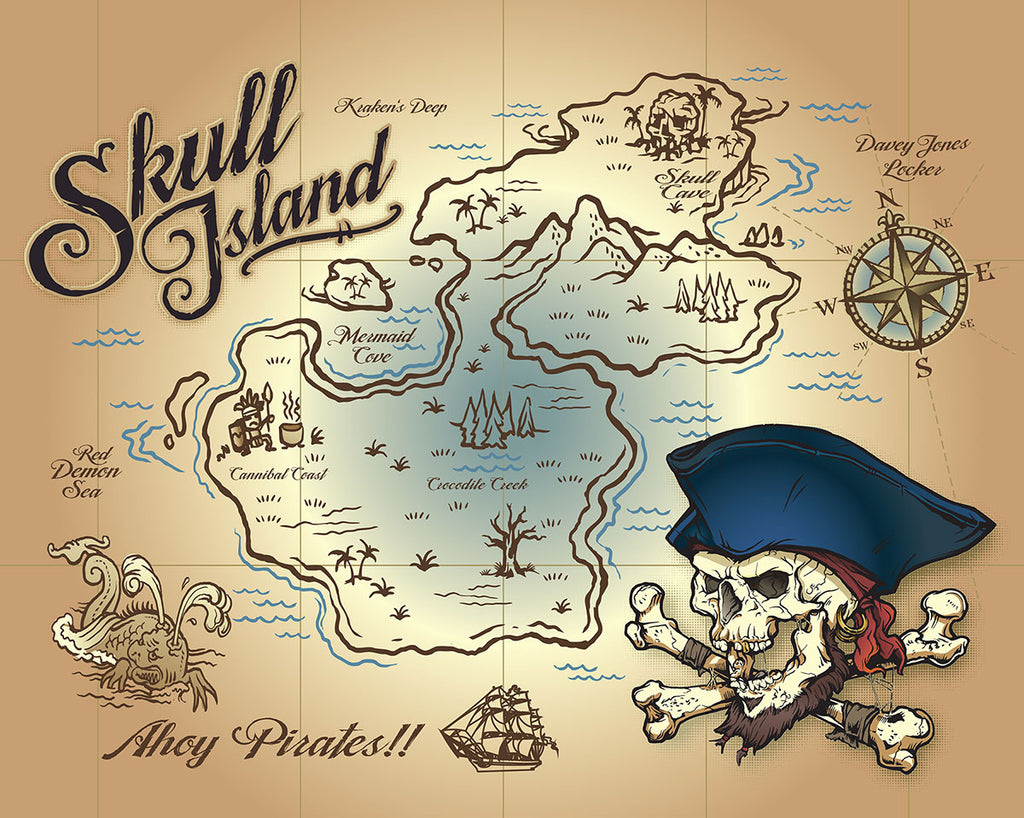 Wall Rogues Skull Island Wall Mural-SKU#WR50595-X marks the spot with a pirate skull and a map of Skull island,