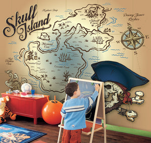 Wall Rogues Skull Island Wall Mural-SKU#WR50595-X marks the spot with a pirate skull and a map of Skull island, hung in playroom