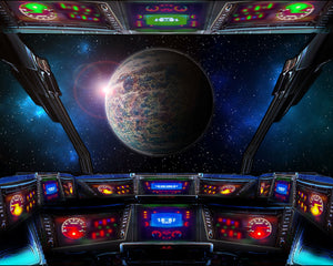 Space Ship Wall Mural-Glowing screens and buttons help you navigate the galaxy and the looming planet ahead.
