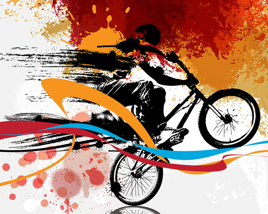 Urban Bike Wall Mural-Blues, reds, and oranges whip behind the biker's silhouette as bright colors splatter across the background.