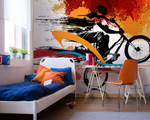 Urban Bike Wall Mural-Blues, reds, and oranges whip behind the biker's silhouette as bright colors splatter across the background. hung in bedroom