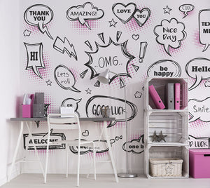 Pink Speech Bubbles Wall Mural-hot pink and black and white speech bubbles. hung in bedroom