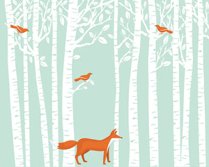 Woodland Wall Mural (SKU WR50602) Bring the peace of a forest to your home with this charming Woodlands Mural. Bright orange birds nestle among white trees while a fox poses below.