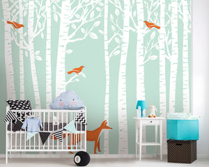 Woodland Wall Mural-Bright orange birds nestle among white trees while a fox poses quietly below. hung in nursery