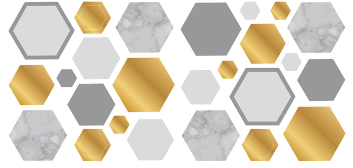 Marble Gold Geo Hexagon Wall Sticker