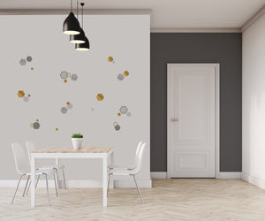 Marble Gold Geo Hexagon Wall Sticker-have gold, silver and grey geometric peel and stick decals.  Have placed them on kitchen wall in front of table.