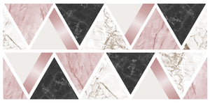 Rose Gold Marble Triangles Wall Sticker-With a marbled design and metallic accents, these black, pink and white triangle decals are perfect for creating a glam look, geometric shape