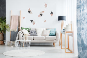 Rose Gold Marble Triangles Wall Sticker-With a marbled design and metallic accents, these black, pink and white triangle decals are perfect for creating a glam look, geometric shape. hung in living room