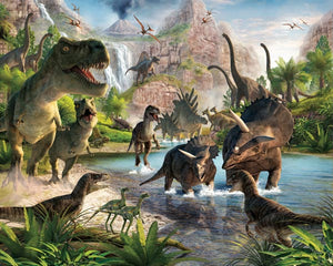 Dinosaur Land Wall Mural-mountain scene and dinosaurs on the run.