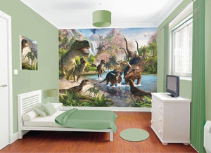 Walltastic Dinosaur Land Wall Mural-SKU#WT41745-mountain scene and dinosaurs on the run. hung in bedroom