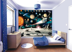 Space Adventure Wall Mural-SKU#WT41837-moon's surface, planets and names of planets. hung in bedroom