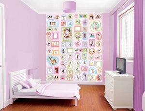 Studio Pets Wall Mural-SKU#WT42124-lovable pets including dogs, cats, little chicks and bunnies . All outlined in colorful detail with blank frames to attach your own photos, on a pink and white striped background.  hung in bedroom
