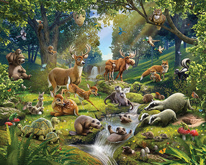 Animals Of The Forest Wall Mural-teeming forest filled with all your favorite animals! Deer, owl, badgers, etc.