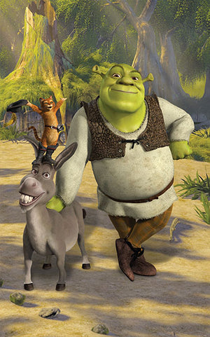 Walltastic Shrek Wall Mural-SKU#WT43084- Shrek and Donkey in clearing.