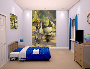 Walltastic Shrek Wall Mural-SKU#WT43084- Shrek and Donkey in clearing. hung in bedroom