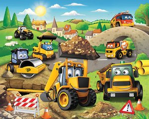 My 1st JCB Wall Mural-SKU#WT43787-a busy construction site filled with diggers, trucks, cement mixers and rollers,
