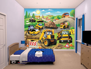 My 1st JCB Wall Mural-SKU#WT43787-a busy construction site filled with diggers, trucks, cement mixers and rollers, hung in bedroom