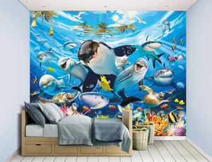Sea Adventure Wall Mural-With smiling orcas, cheerful dolphins and bright coral, hung in bedroom
