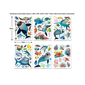 Sea Adventure Wall Stickers-various smiling sea creatures like, whales, dolphins, starfish and seahorse.  Shown on sheets that it comes on.