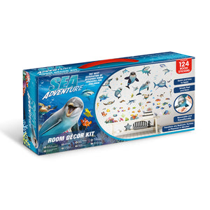 Sea Adventure Wall Stickers-various smiling sea creatures like, whales, dolphins, starfish and seahorse.  shown in box it is shipped in.