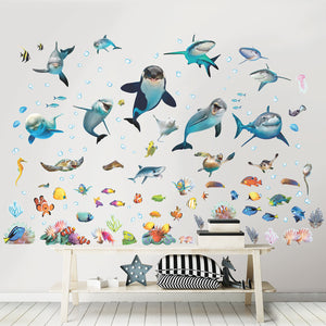 Sea Adventure Wall Stickers-various smiling sea creatures like, whales, dolphins, starfish and seahorse.  Hung on child's wall.