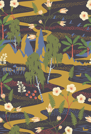 Magisk Wall Mural-Step into a magical world where a desert oasis exists among wildflowers and birch trees. Forest creatures and plants in rich colors are printed on a black background.