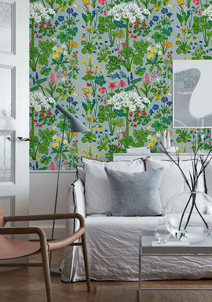 Aurora Wall Mural- Beautiful wildflowers and dandelions with a Scandinavian style grow up the wall with a linen print.  hung in living room