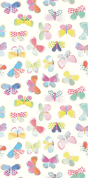 White Butterflies In My Stomach Mural (SKU 359150) This whimsical mural is perfect for a kids room or playroom! Large-scale butterflies in bright colors have a youthful, hand painted style.