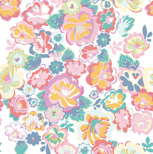 White English Country Floral Dream Mural (SKU 359159) Graphic style flowers cascade over an off-white background. This mural is a modern interpretation of a lively English garden's charm and beauty for your home.
