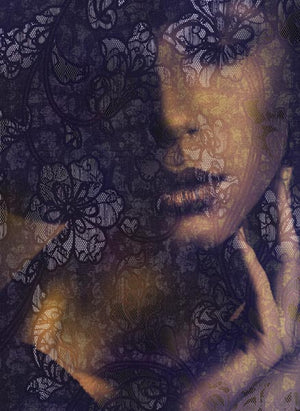 Lace Wall Mural-black lace cast in the golden glow of a beautiful woman's face.